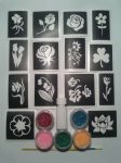 Flower  glitter tattoo set including stencils + 5 pots of color +  glue   daisy rose daffodil tulip orchid
